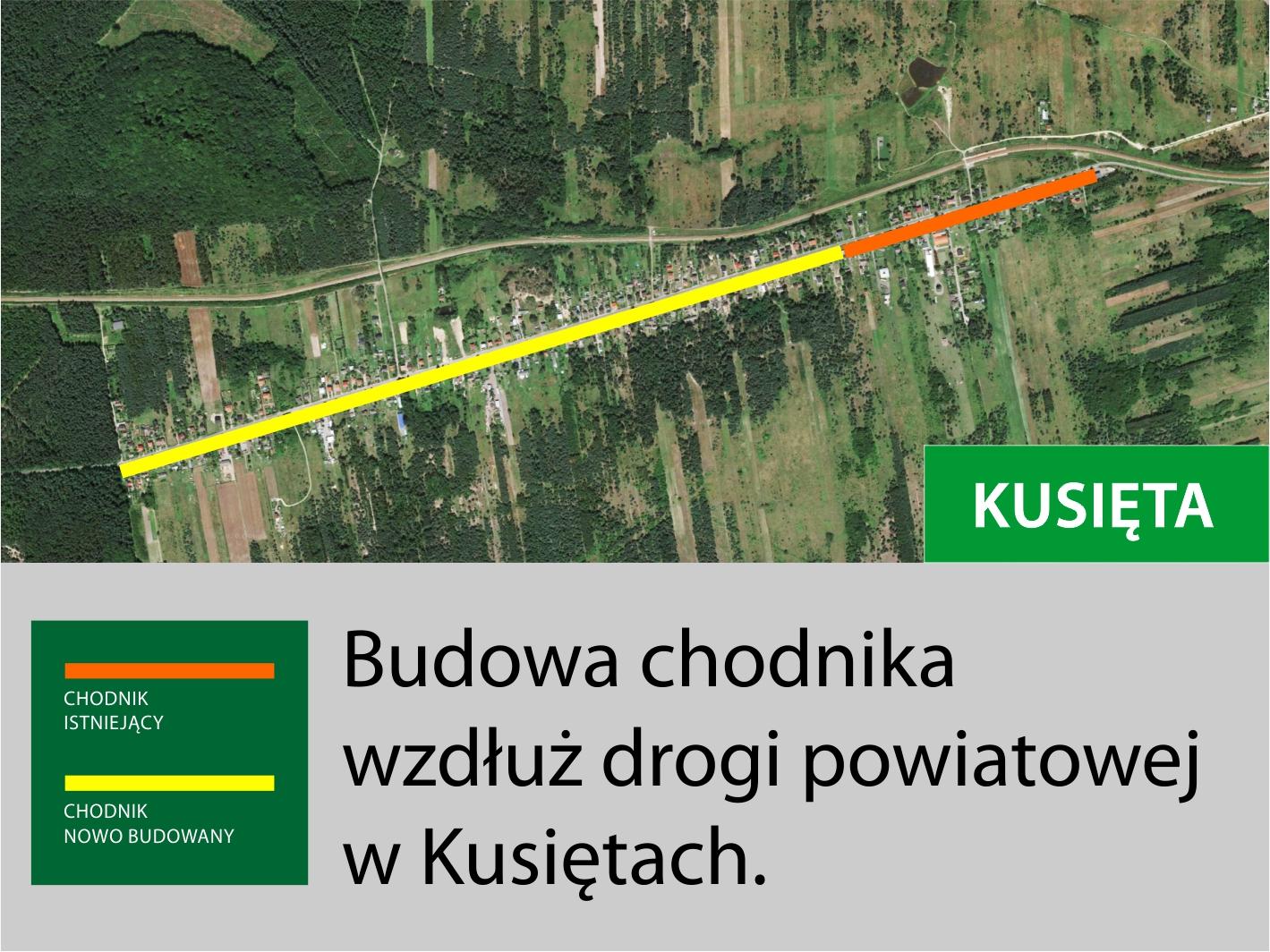 mapka Kusięta chodnik
